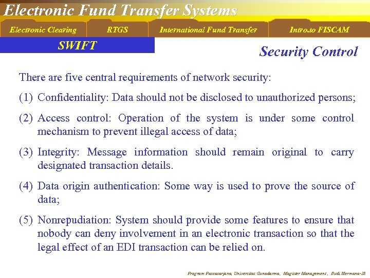 Electronic Fund Transfer Systems Electronic Clearing SWIFT RTGS International Fund Transfer Intro. to FISCAM