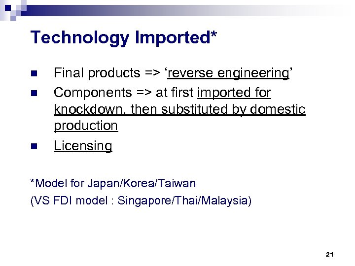 Technology Imported* n n n Final products => 'reverse engineering' Components => at first