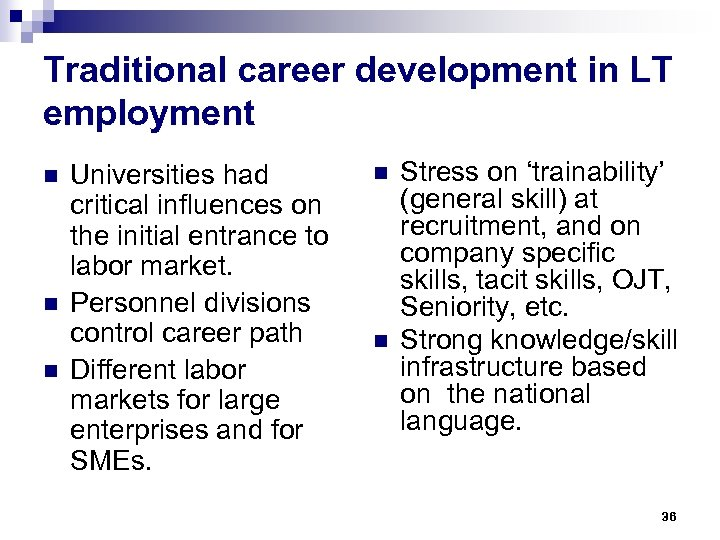 Traditional career development in LT employment n n n Universities had critical influences on