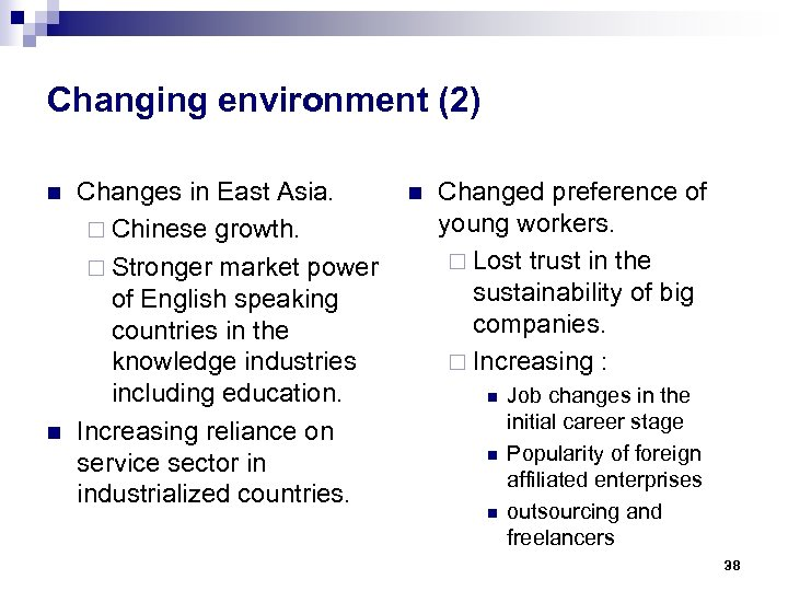 Changing environment (2) n n Changes in East Asia. ¨ Chinese growth. ¨ Stronger