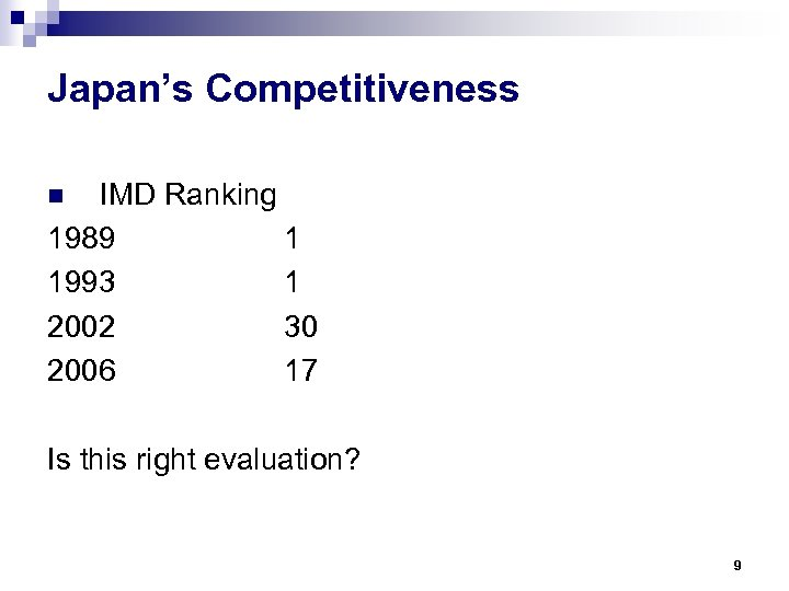 Japan's Competitiveness IMD Ranking 1989 1 1993 1 2002 30 2006 17 n Is