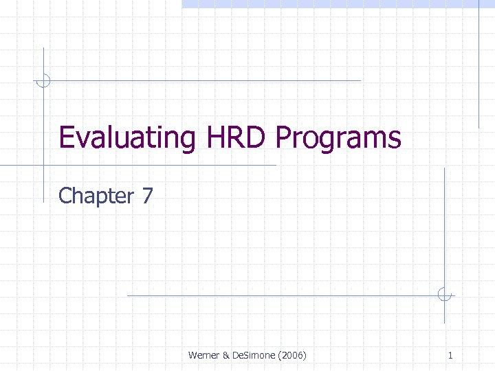Evaluating HRD Programs Chapter 7 Werner & De. Simone (2006) 1