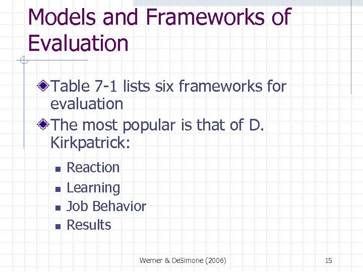 Models and Frameworks of Evaluation Table 7 -1 lists six frameworks for evaluation The