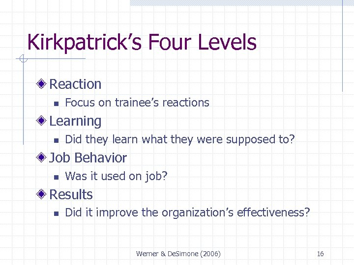 Kirkpatrick's Four Levels Reaction n Focus on trainee's reactions Learning n Did they learn