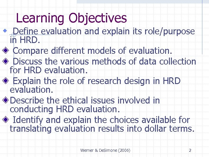 Learning Objectives w Define evaluation and explain its role/purpose in HRD. Compare different models