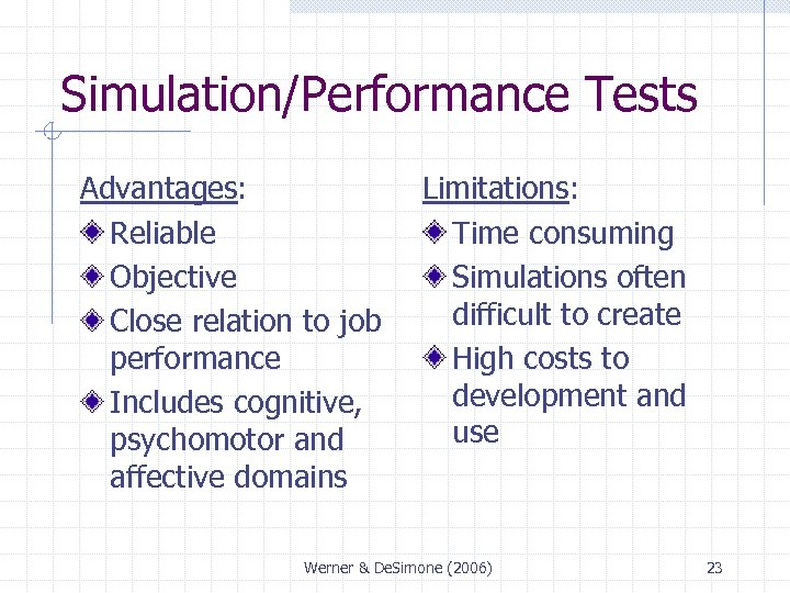Simulation/Performance Tests Advantages: Reliable Objective Close relation to job performance Includes cognitive, psychomotor and