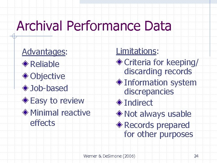 Archival Performance Data Advantages: Reliable Objective Job-based Easy to review Minimal reactive effects Limitations: