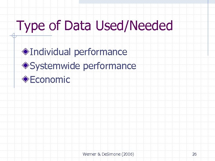 Type of Data Used/Needed Individual performance Systemwide performance Economic Werner & De. Simone (2006)