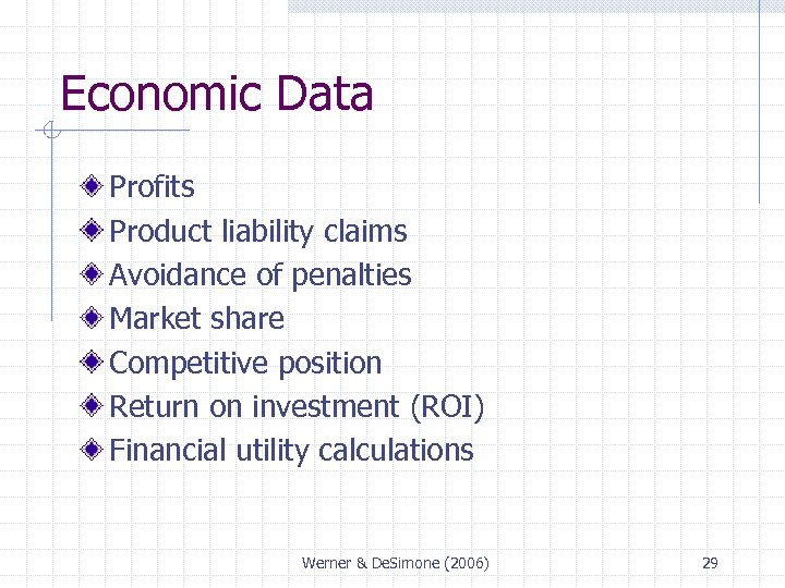 Economic Data Profits Product liability claims Avoidance of penalties Market share Competitive position Return