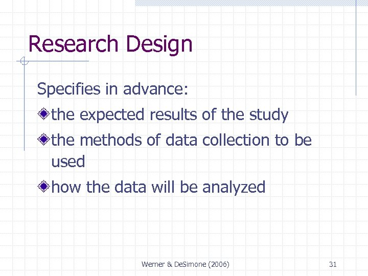 Research Design Specifies in advance: the expected results of the study the methods of