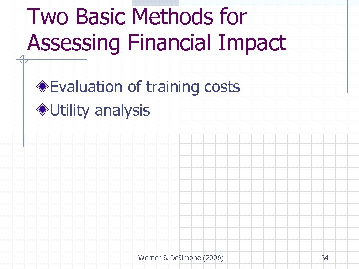 Two Basic Methods for Assessing Financial Impact Evaluation of training costs Utility analysis Werner