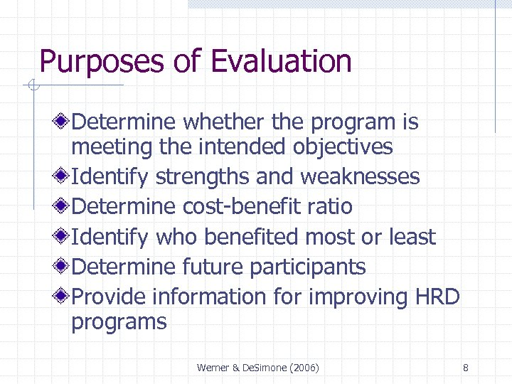 Purposes of Evaluation Determine whether the program is meeting the intended objectives Identify strengths