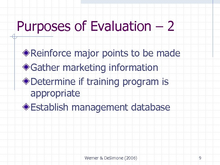 Purposes of Evaluation – 2 Reinforce major points to be made Gather marketing information