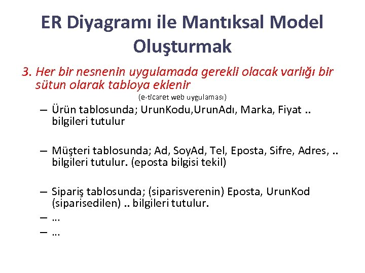 ER Diyagramı ile Mantıksal Model Oluşturmak 3. Her bir nesnenin uygulamada gerekli olacak varlığı