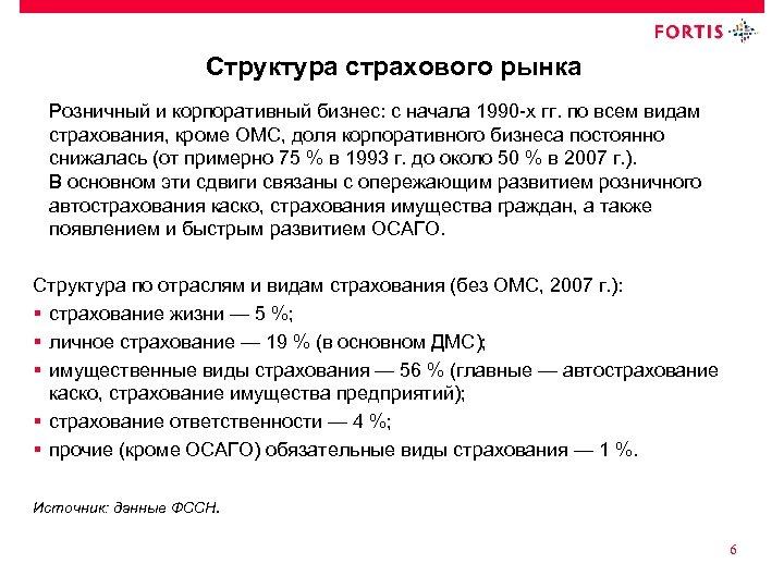Структура страхового рынка Розничный и корпоративный бизнес: с начала 1990 -х гг. по всем