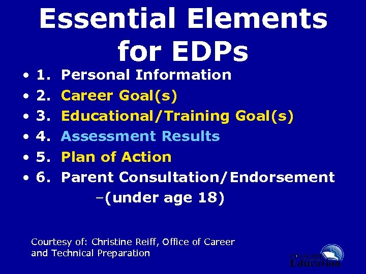 • • • Essential Elements for EDPs 1. Personal Information 2. Career Goal(s)