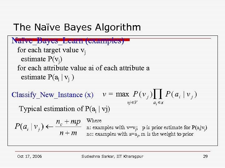The Naïve Bayes Algorithm Naïve_Bayes_Learn (examples) for each target value vj estimate P(vj) for