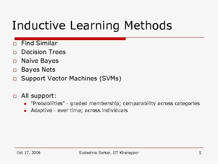 Inductive Learning Methods o Find Similar Decision Trees Naïve Bayes Nets Support Vector Machines