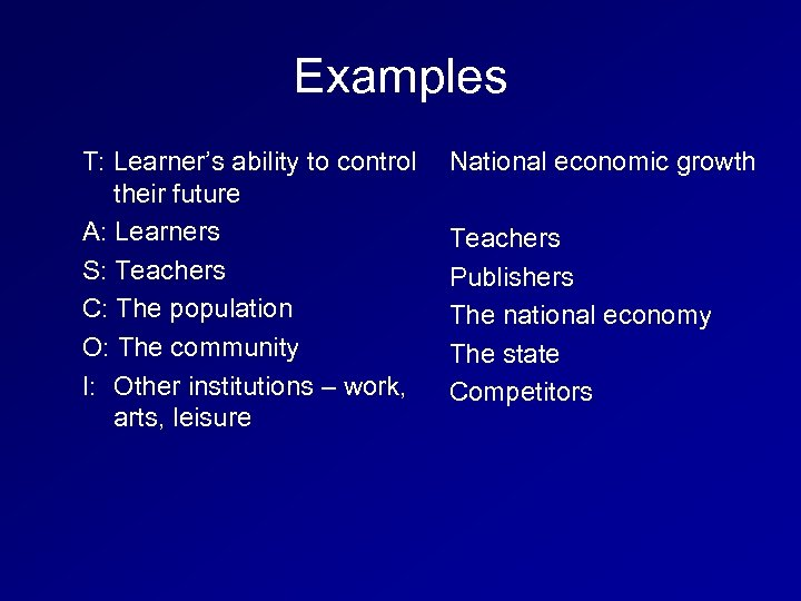 Examples T: Learner's ability to control their future A: Learners S: Teachers C: The