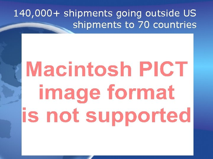 140, 000+ shipments going outside US shipments to 70 countries