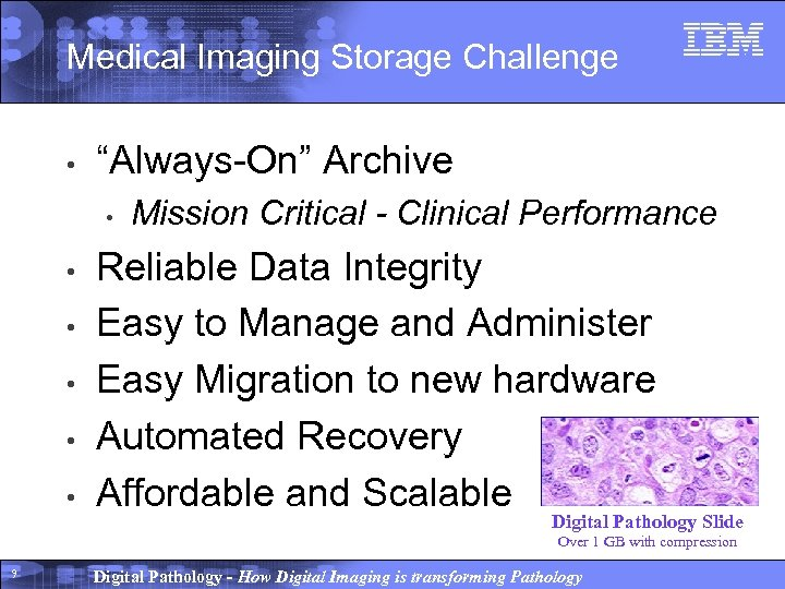 """Medical Imaging Storage Challenge • """"Always-On"""" Archive • • • Mission Critical - Clinical"""
