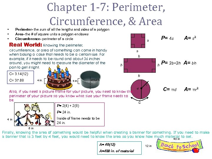 Chapter 1 -7: Perimeter, Circumference, & Area • • • Perimeter- the sum of