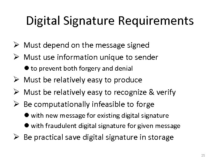 Digital Signature Requirements Ø Must depend on the message signed Ø Must use information