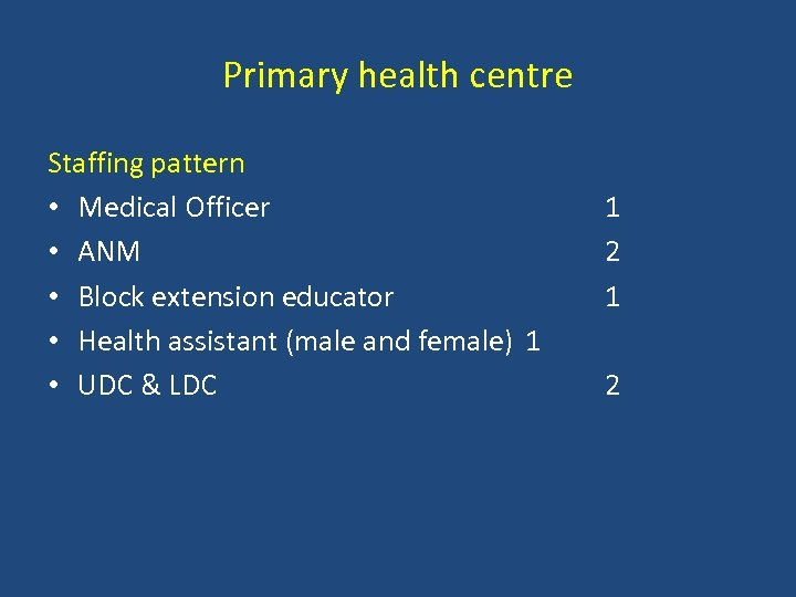 Primary health centre Staffing pattern • Medical Officer • ANM • Block extension educator