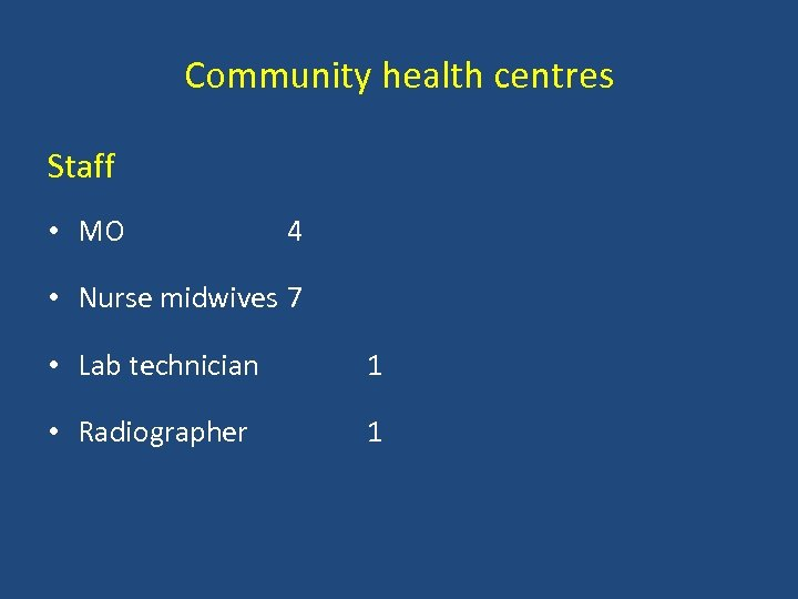 Community health centres Staff • MO 4 • Nurse midwives 7 • Lab technician
