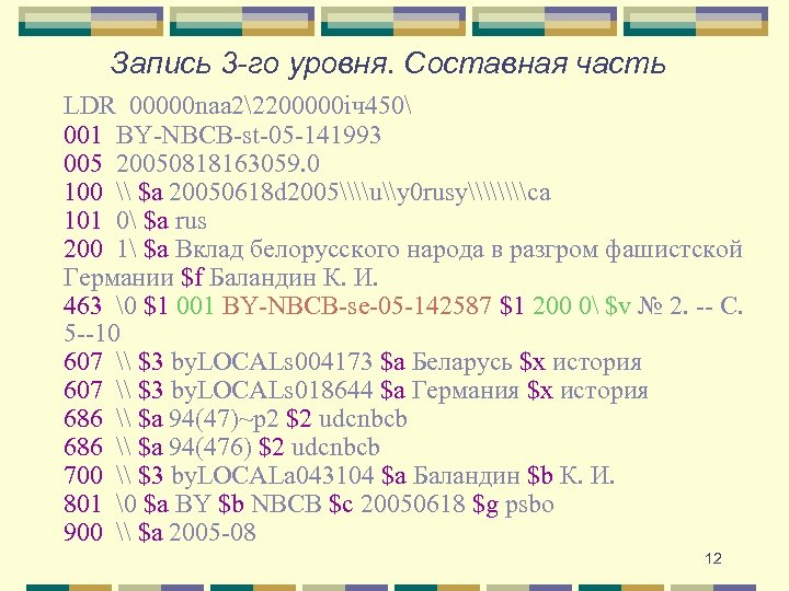 Запись 3 -го уровня. Составная часть LDR 00000 naa 22200000 iч450 001 BY-NBCB-st-05 -141993