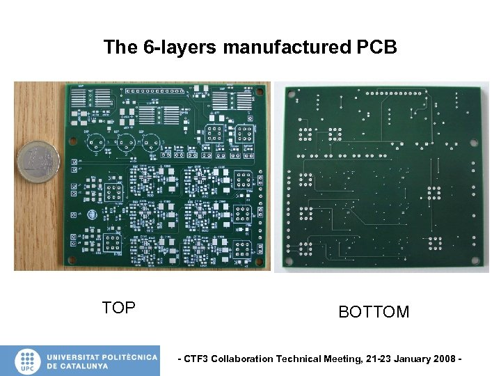 The 6 -layers manufactured PCB TOP BOTTOM - CTF 3 Collaboration Technical Meeting, 21