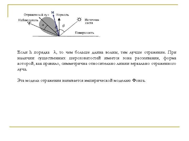 Если h порядка , то чем больше длина волны, тем лучше отражение. При наличии