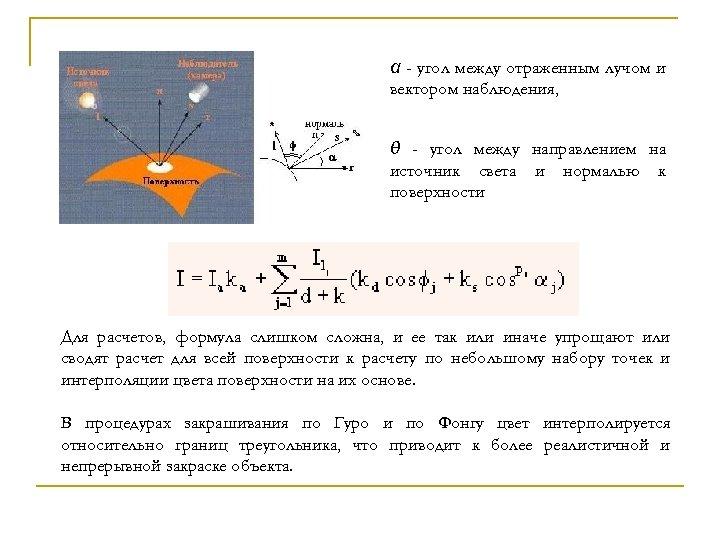 α - угол между отраженным лучом и вектором наблюдения, θ - угол между направлением
