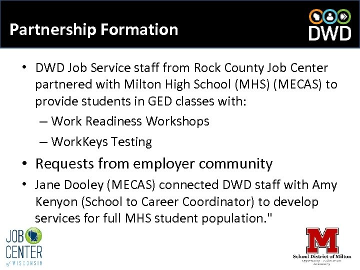 Partnership Formation • DWD Job Service staff from Rock County Job Center partnered with