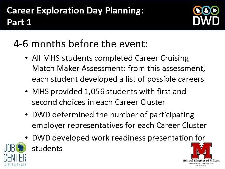 Career Exploration Day Planning: Part 1 4 -6 months before the event: • All