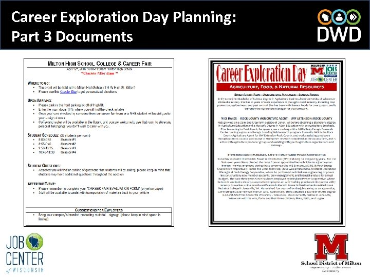 Career Exploration Day Planning: Part 3 Documents