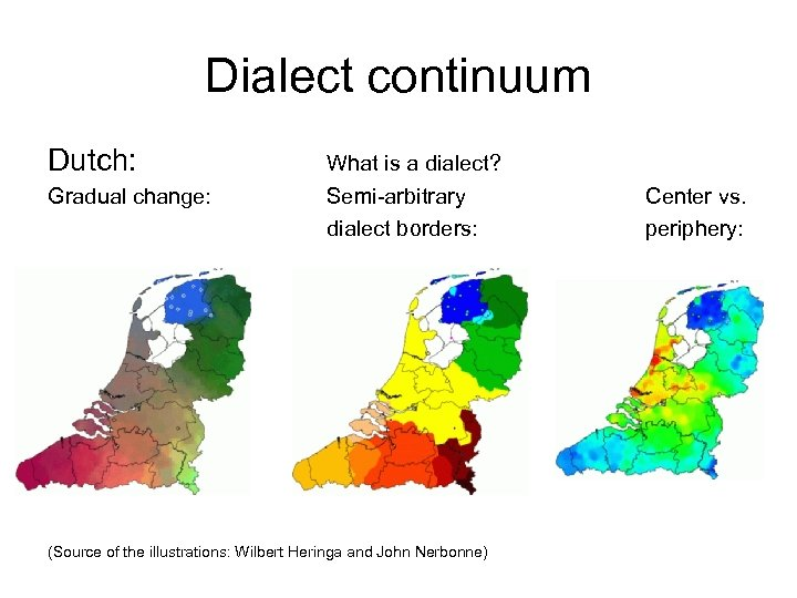 Dialect continuum Dutch: What is a dialect? Gradual change: Semi-arbitrary dialect borders: (Source of