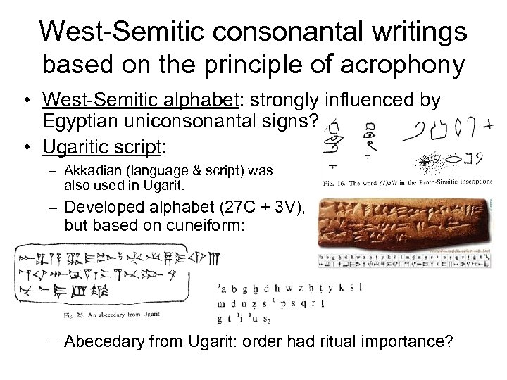West-Semitic consonantal writings based on the principle of acrophony • West-Semitic alphabet: strongly influenced