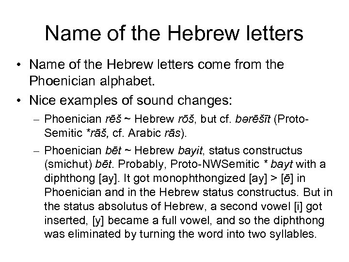 Name of the Hebrew letters • Name of the Hebrew letters come from the
