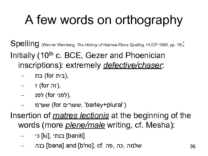 A few words on orthography Spelling (Werner Weinberg: The History of Hebrew Plene Spelling,