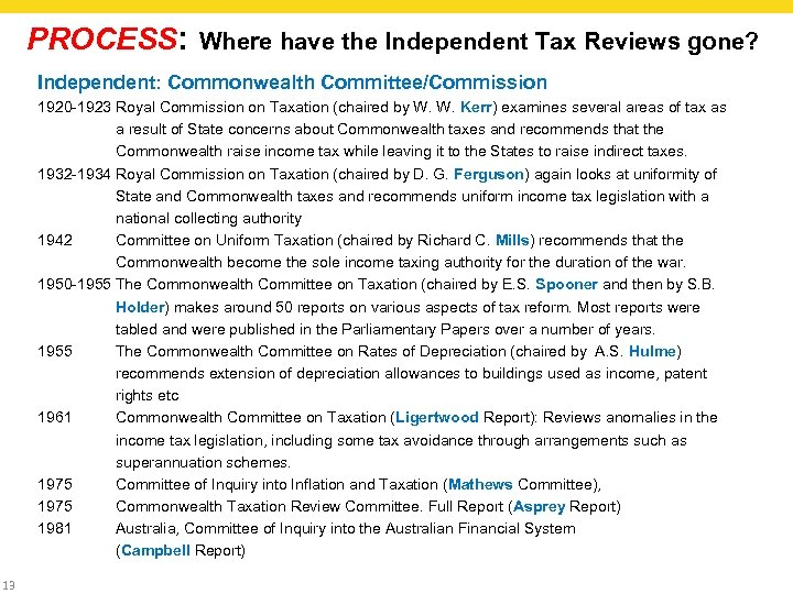 PROCESS: Where have the Independent Tax Reviews gone? Independent: Commonwealth Committee/Commission 1920 -1923 Royal