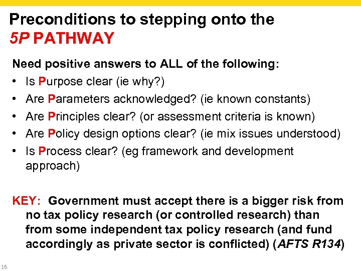 Preconditions to stepping onto the 5 P PATHWAY Need positive answers to ALL of