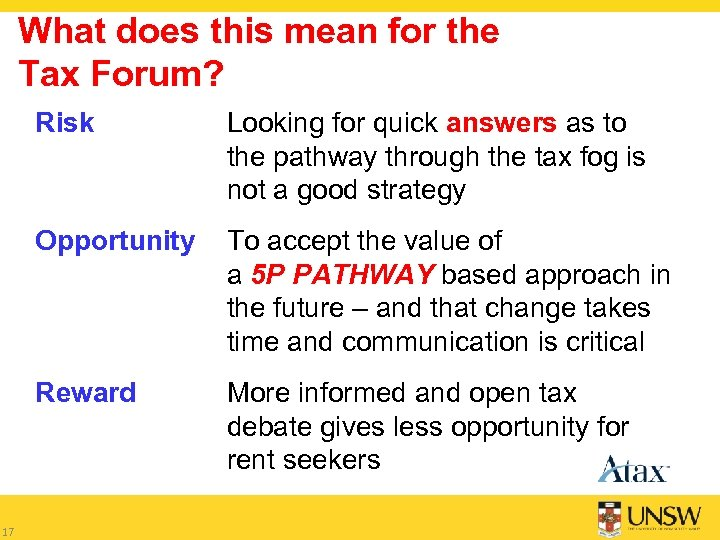 What does this mean for the Tax Forum? Risk Opportunity To accept the value