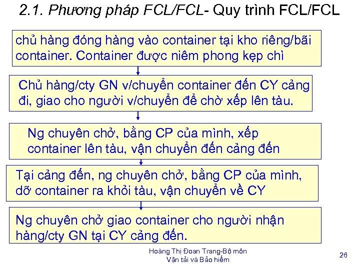 2. 1. Phương pháp FCL/FCL- Quy trình FCL/FCL chủ hàng đóng hàng vào container