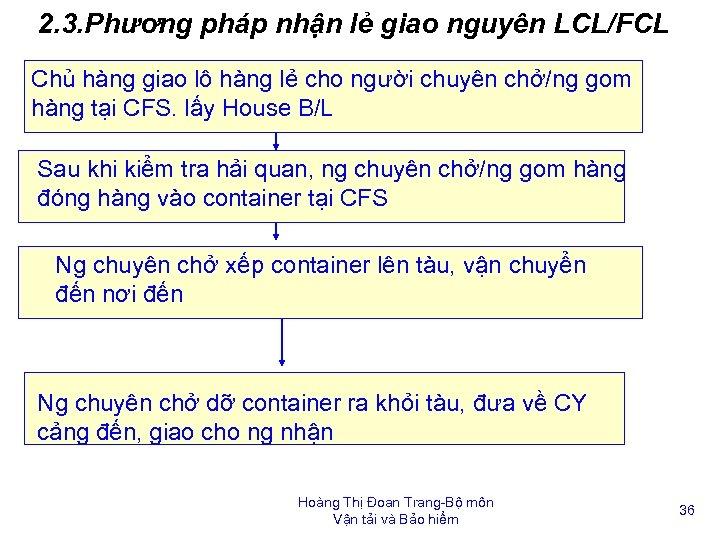 2. 3. Phương pháp nhận lẻ giao nguyên LCL/FCL Chủ hàng giao lô hàng