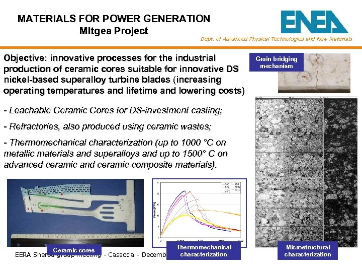 MATERIALS FOR POWER GENERATION Mitgea Project Dept. of Advanced Physical Technologies and New Materials
