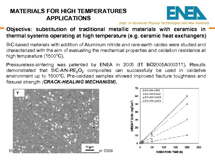 MATERIALS FOR HIGH TEMPERATURES APPLICATIONS Dept. of Advanced Physical Technologies and New Materials Objective: