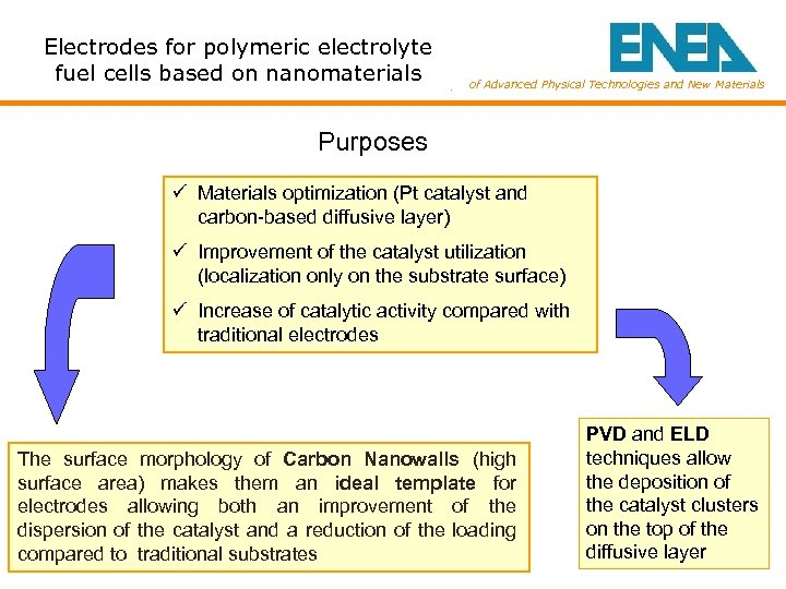 Electrodes for polymeric electrolyte fuel cells based on nanomaterials Dept. of Advanced Physical Technologies
