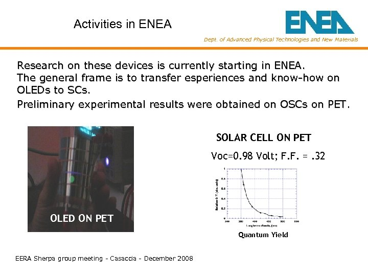 Activities in ENEA Dept. of Advanced Physical Technologies and New Materials Research on these