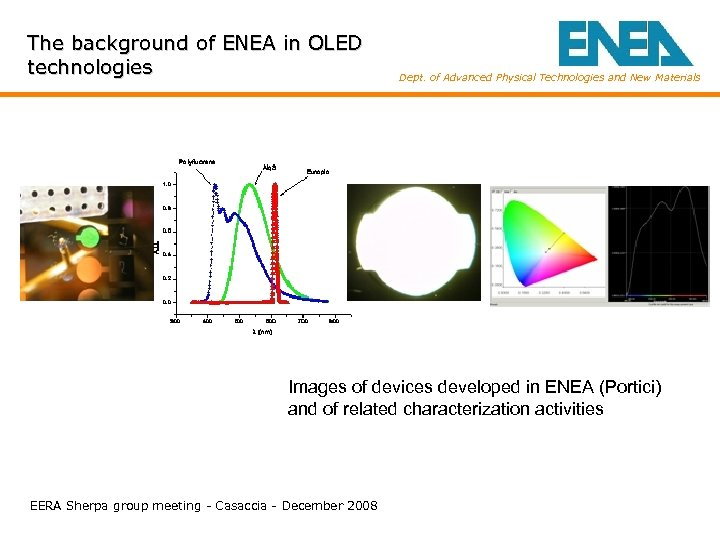 The background of ENEA in OLED technologies Dept. of Advanced Physical Technologies and New